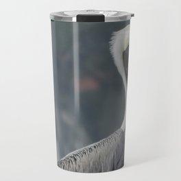 Regal Brown Pelican on Wooden Post Travel Mug
