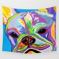 french bulldog Wall Tapestries featuring French Bulldog by EloiseArt