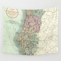 portugal Wall Tapestries featuring Vintage Map of Portugal (1801) by BravuraMedia