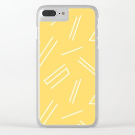 Yellow & White Abstract Lines Clear iPhone Case
