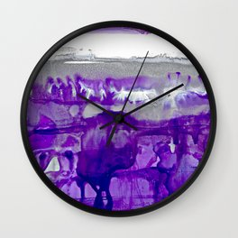 Winter in Purple and Silver Wall Clock