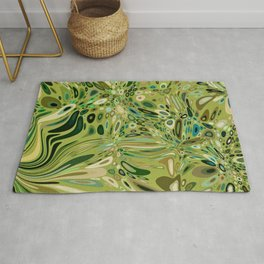 SOYLENT textured abstract in shades of green - lime to emerald Rug