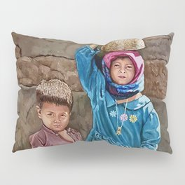 Oil painting 2 kids Childhood is miserable but responsible and stubbornly resisting despair Pillow Sham