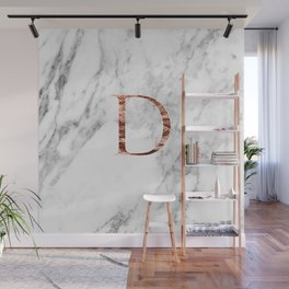 Monogram rose gold marble D Wall Mural