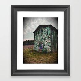Blue Graffiti Barn Framed Art Print