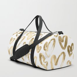 Gold Love Hearts Pattern on White Duffle Bag