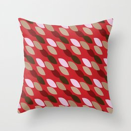 Abstract Leaves (Red): a lively everyday pattern with a retro feel to rev up your day Throw Pillow
