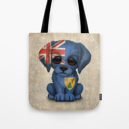 Cute Puppy Dog with flag of Turks and Caicos Tote Bag