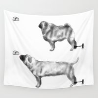 motivation Wall Tapestries featuring Pug Motivation by Brendon Smile