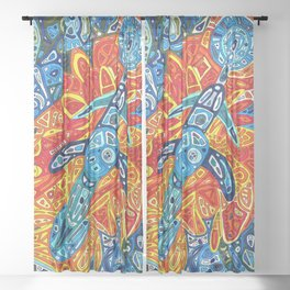 Cosmic Thunderbird in Blue Sheer Curtain