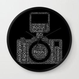 Photography Word Cloud Camera Shape Wall Clock