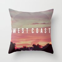 west coast Throw Pillows featuring West Coast by marcbueno