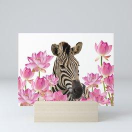 Zebra between Lotos Flower field Mini Art Print