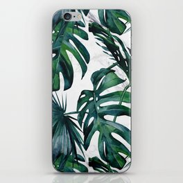 Tropical Palm Leaves Classic on Marble iPhone Skin