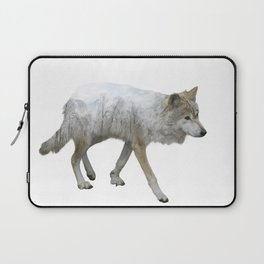 wolf double exposure in the winter time Laptop Sleeve