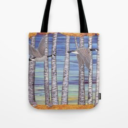 Canada geese, hedgehogs, and autumn birch trees Tote Bag