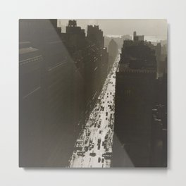 Seventh Avenue, NYC Looking South from 35th Street, Manhattan black and white skyline photograph Metal Print
