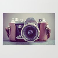 vintage camera Area & Throw Rugs featuring Vintage Camera by Juste Pixx Photography