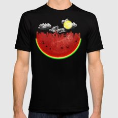 Watermelon City Mens Fitted Tee Black LARGE
