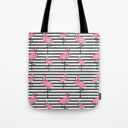 Flamingo Pattern Striped Background Tote Bag