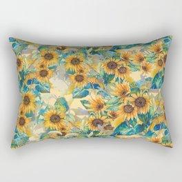 watercolor sun flowers garden Rectangular Pillow