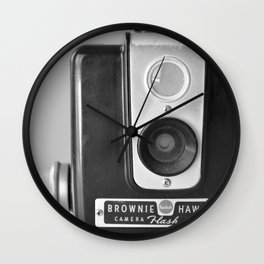 Vintage camera by kodak black and white Wall Clock
