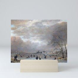 Aert van der Neer Winter Landscape with Skaters on a Frozen River Mini Art Print