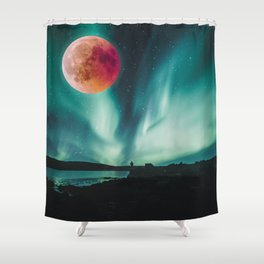 Blood Moon Over Iceland Shower Curtain