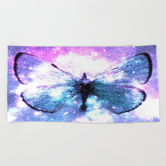 Celestial Butterfly Pink Lavender Aqua Beach Towel