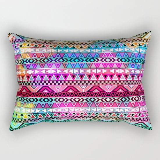 Neon Aztec | Purple Pink Neon Bright Andes Abstract Pattern Rectangular Pillow
