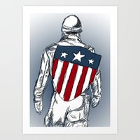 chris evans Art Prints featuring Captain America (Chris Evans) by  Steve Wade ( Swade)
