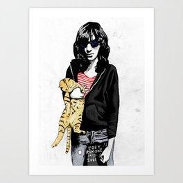 Cat and JoeyRamone Art Print