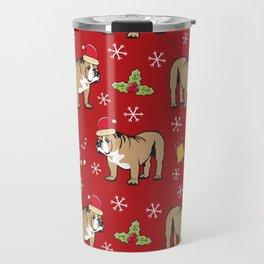 English Bulldog on Christmas Day Travel Mug