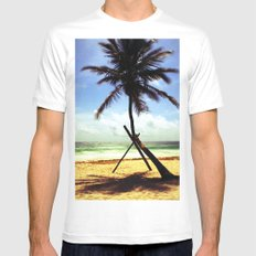 Palm on the beach. MEDIUM White Mens Fitted Tee