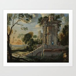 Follower of Pierre Anthonie Patel II - Architectural capriccio with figures resting Art Print