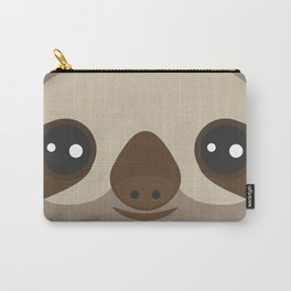 funny and cute smiling Three-toed sloth on brown background Carry-All Pouch