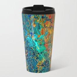 ETERNAL TIDE 2 Rainbow Ombre Ocean Waves Abstract Acrylic Painting Summer Colorful Beach Blue Orange Travel Mug