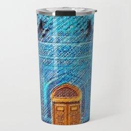Blue Tile Mosaic Mosque Portrait - Sultan Ahmed Mosque by Jéanpaul Ferro Travel Mug