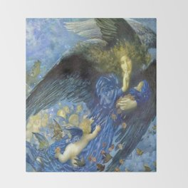 Night with her Train of Stars by Edward Robert Hughes Throw Blanket