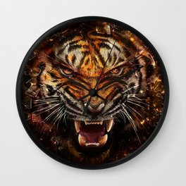 Angry Tiger Breaking Glass Yelow Wall Clock