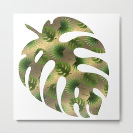 Tropical Leaves Gold Great Gatsby Metal Print