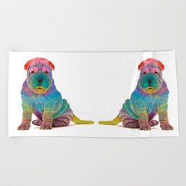 Colorful Sharpei Beach Towel