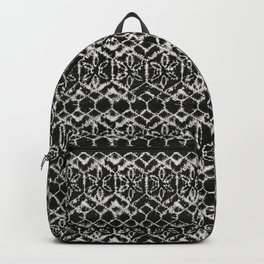 tie dye geometric line in black and white Backpack