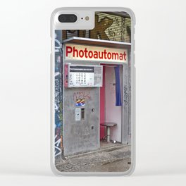 Old photo booth in Berlin Clear iPhone Case