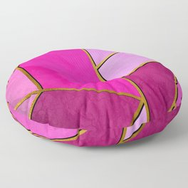 Modern pink colorful stylish abstract design poster with golden lines Floor Pillow
