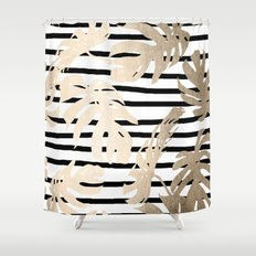 Simply Tropical White Gold Sands Palm Leaves on Stripes Shower Curtain