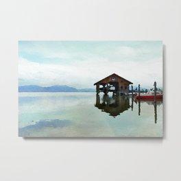 Dreamy lake in watercolor Metal Print