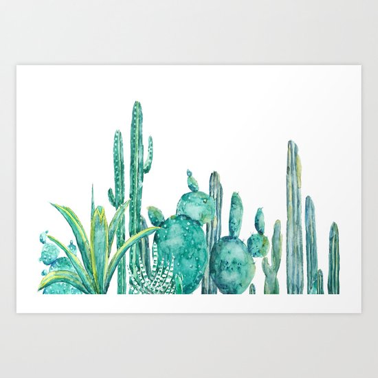 green cactus jungle watercolor Art Print