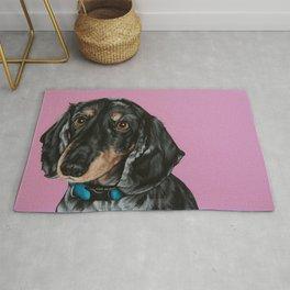 Sweet Double Dapple Dachshund Portrait, Weiner Dog Painting, Dachshund Painting Rug