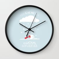 furry Wall Clocks featuring Snow Furry by no bones left